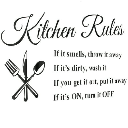 1Pc Removable Kitchen Rules Words Wall Stickers Decal Home Decor Vinyl Art Mural 23.62