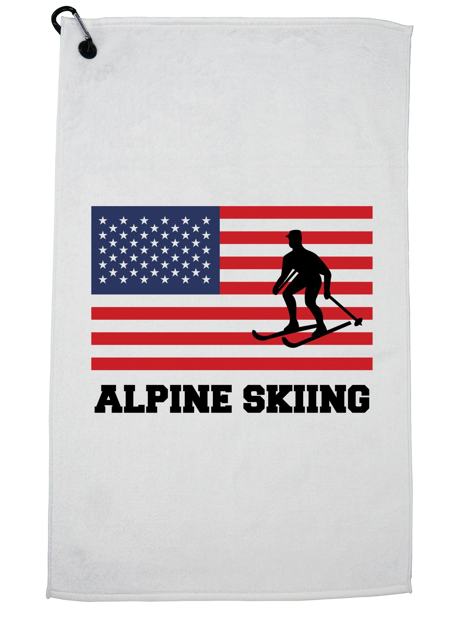 USA Olympic Alpine Skiing Flag Silhouette Golf Towel with Carabiner Clip by Hollywood Thread