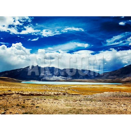 Vintage Retro Effect Filtered Hipster Style Travel Image of Himalayan Lake Kyagar Tso, Ladakh, Indi Print Wall Art By f9photos