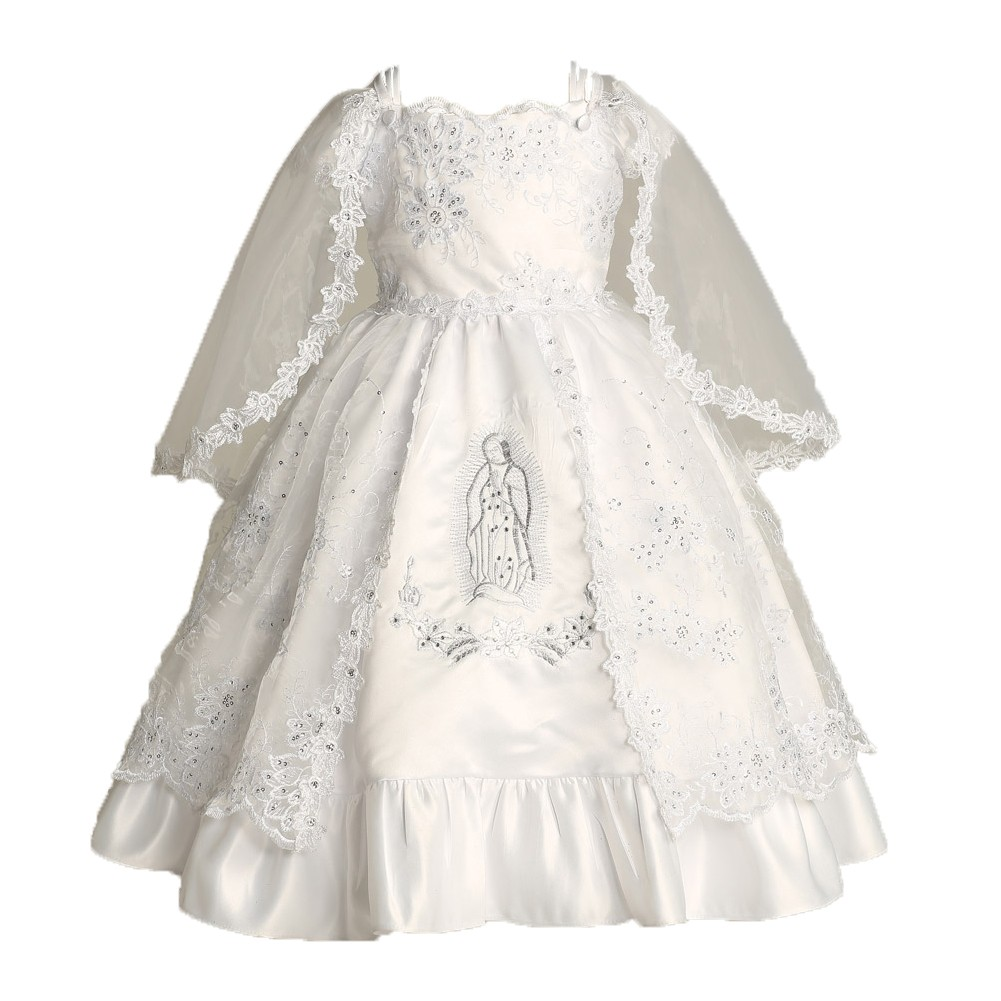 Angels Garment Baby Girls White Satin Embroidered Organza Baptism ...