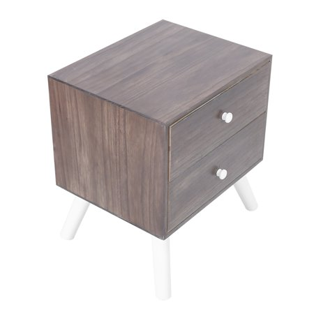 Haofy Night Table,Nightstand with Drawers,Retro Wooden Bedroom Bedside Table Nightstand Storage Cabinet with 2 Drawers for Living Room Decor