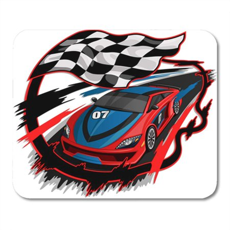 KDAGR Red Race Speeding Racing Car with Checkered Flag Racetrack Design Blue Speed Mousepad Mouse Pad Mouse Mat 9x10