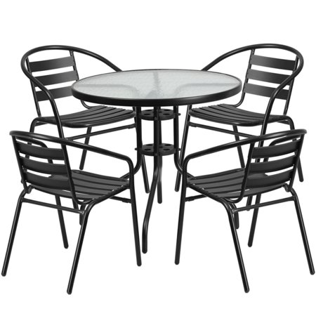 Aluminum Slat Table - Flash Furniture 31.5'' Round Glass Metal Table with 4 Black Metal Aluminum Slat Stack Chairs