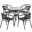 "Flash Furniture 31.5"" Round Glass Metal Table with 4 Slat Stack Chairs"