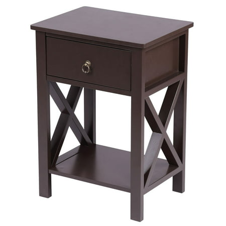 Night Stand 2-tier Bedside Table 1 Drawer Smooth Surface Night Table for Indoor Bedroom, Brown