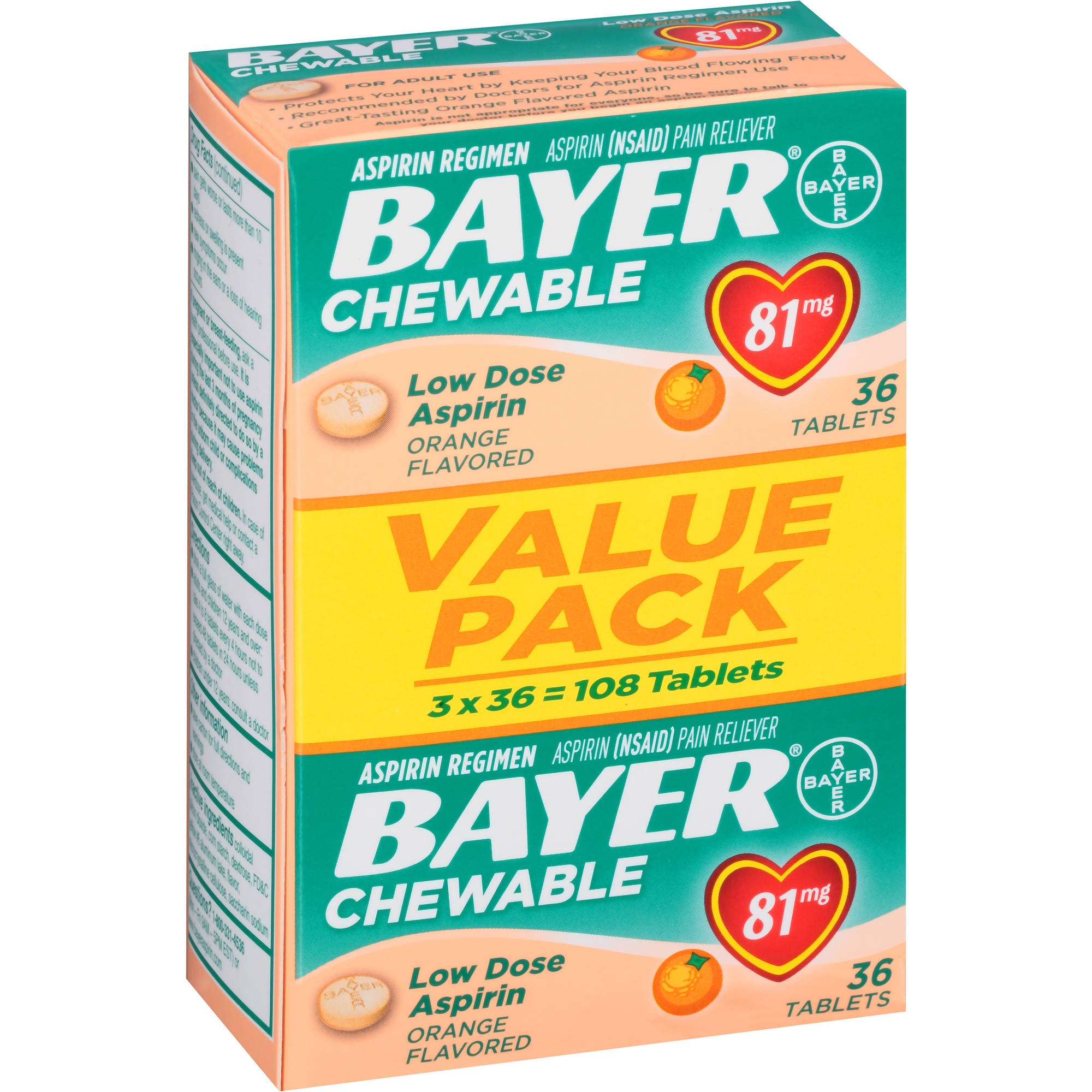 Bayer Chewable Orange Flavored Low Dose Aspirin, 81mg, 36 count, (Pack of 3)