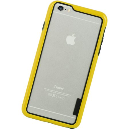 Insten Hard Hybrid Crystal TPU Case for Apple iPhone 6s Plus / 6 Plus - Clear/Yellow - image 1 of 5