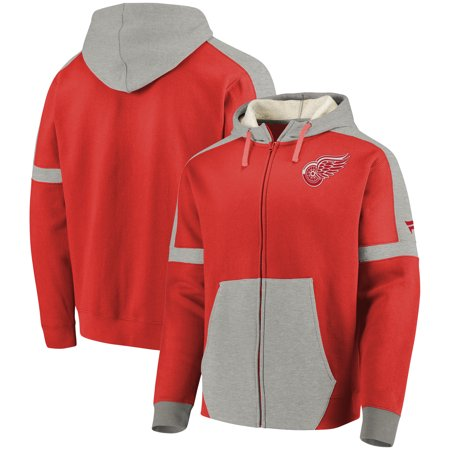 Detroit Red Wings Fanatics Branded Iconic Fleece Full-Zip Hoodie - Red/Heathered Gray Concept Sports Detroit Red Wings