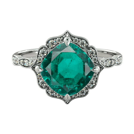 - 14K White Gold 3.25 ctw Lab Created Green Emerald Stone Ring with Diamonds Flower Leaves Halo