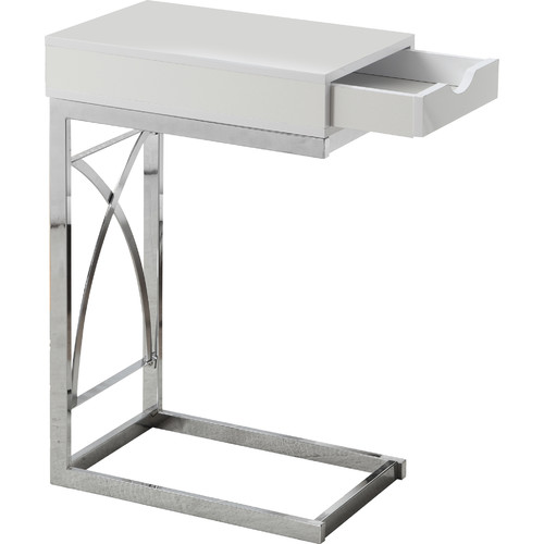 Monarch Accent Table Chrome Metal / Glossy White With A Drawer