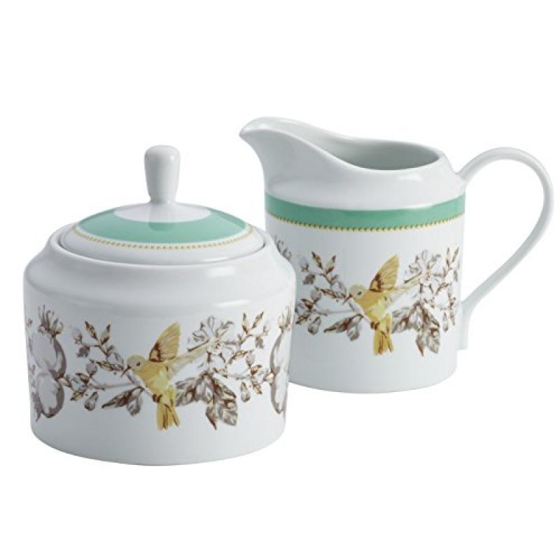 BonJour Dinnerware Fruitful Nectar Porcelain Sugar and Creamer Set, Print - 54520