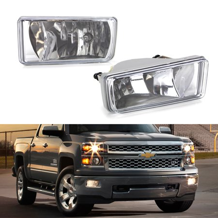 07 Chevrolet Silverado 1500 Light - iJDMTOY Left/Right Clear Lens Fog Lights Foglamp Kit w/ 5202 Halogen Bulbs For 2007-2015 Chevrolet Silverado 1500 2500 3500, 2007-2018 Chevy Tahoe Suburban, etc