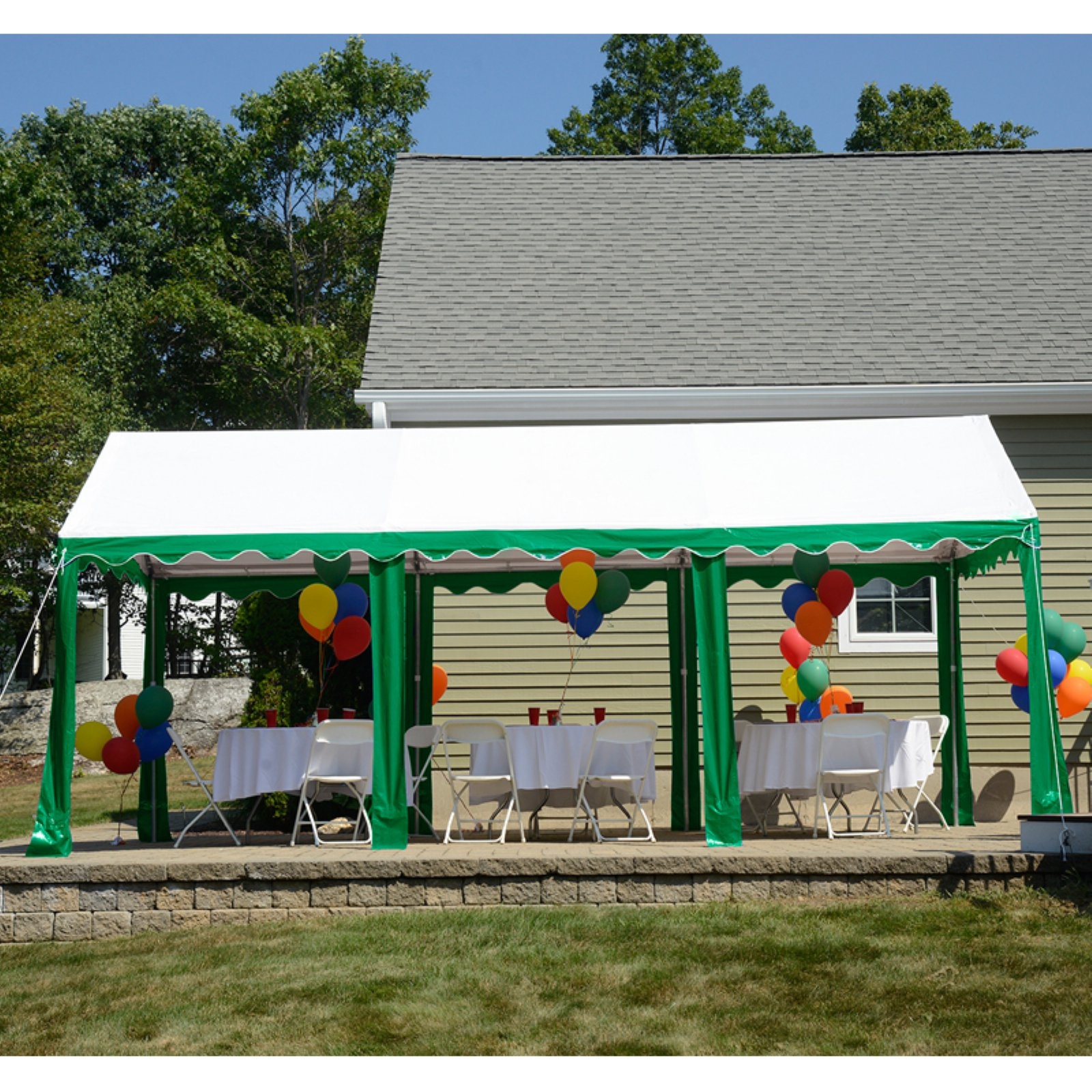 Party Tent, 10' x 20'/3m x 6m, Green/White