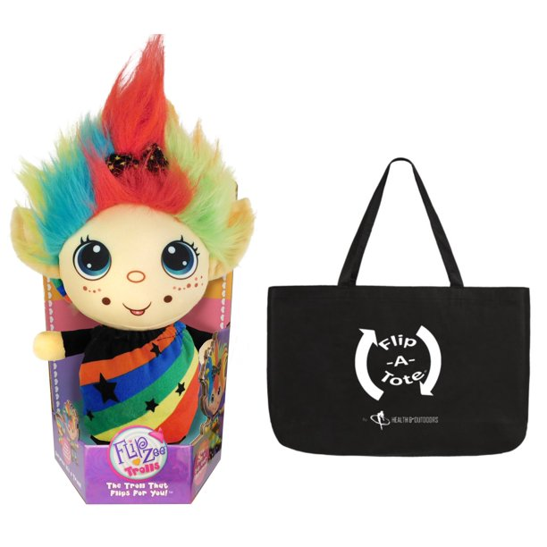 "Flip Zee Trolls RAINBOW GALORE w/ Exclusive Flipatote, 2 in 1 Troll 9"" Plush, The Baby That Flips For You!"