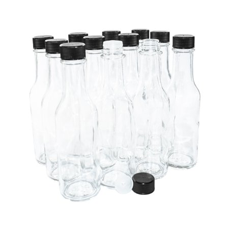 (12 pack) 5 oz. Clear Glass Hot Sauce Bottle with Black Cap and Orifice Reducer (Sauce Glass Container)