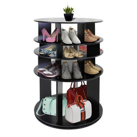 DL furniture - 5 Tier Round 360-Degree Rotating Shoe Rack - Organizing Rack Entryway Storage Shelf Solid wood | -