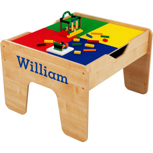 KidKraft - Personalized 2-in-1 Activity Table, Blue Serif Font Boy's Name, William