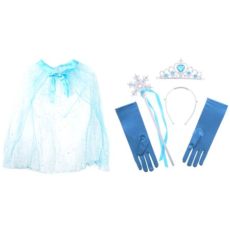 Pretend Play Dress Up Mozlly Blue Princess Twinkle Star Costume Cape and Mozlly Blue Ice Princess Tiara Wand and Gloves Set (4pc Set)](Twinkle Twinkle Little Star Costume)
