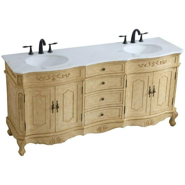 Elegant Decor Danville 72 Double Marble Top Bathroom Vanity In Antique Beige Walmart Com Walmart Com