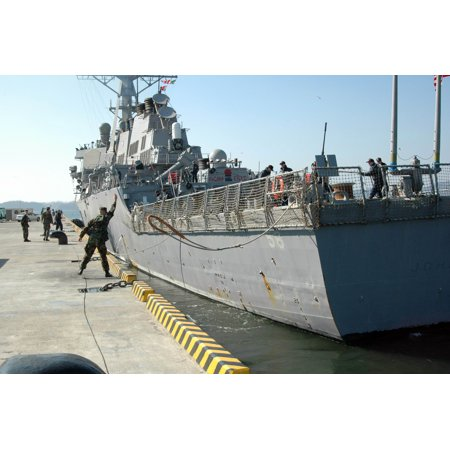 Laminated Poster Sailors Aboard The Guided Missile Destroyer Uss John S  Mccain  Ddg 56  Haul In Lines In Prepar Poster Print 24 X 36
