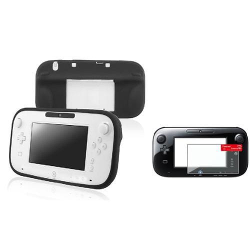 Insten Black Soft Skin Case+2x Protector For Nintendo Wii U Gamepad Remote Controller