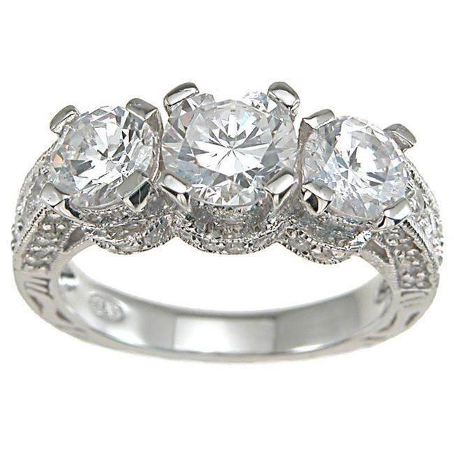 Plutus kkr6288a 925 Sterling Silver Rhodium Finish CZ Antique Style Wedding Ring Size 6