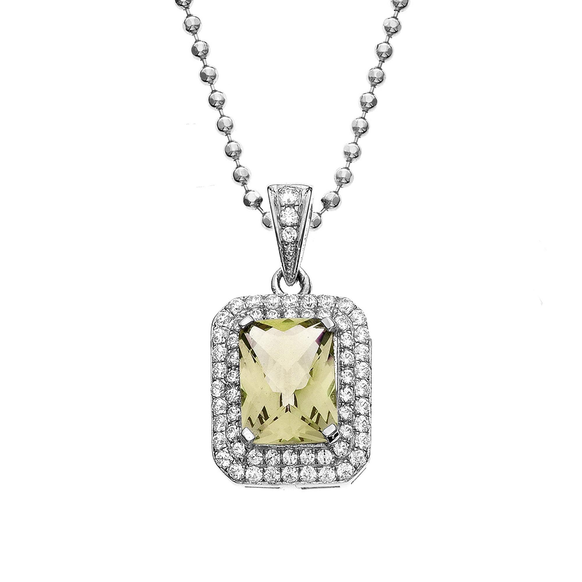 Platinum Plated Sterling Silver Rectangle Cut Lemon Quartz Pave Cubic Zirconia Pendant Necklace by Collection Bijoux