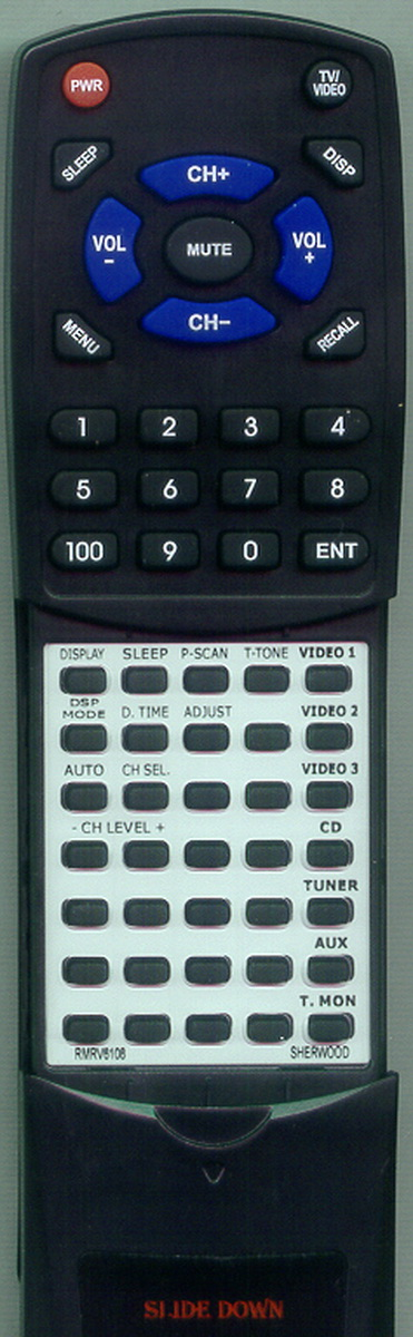 Replacement Remote for SHERWOOD RMRV6108, RTRMRV6108, RM105, RD6108, RD6500 by Redi-Remote