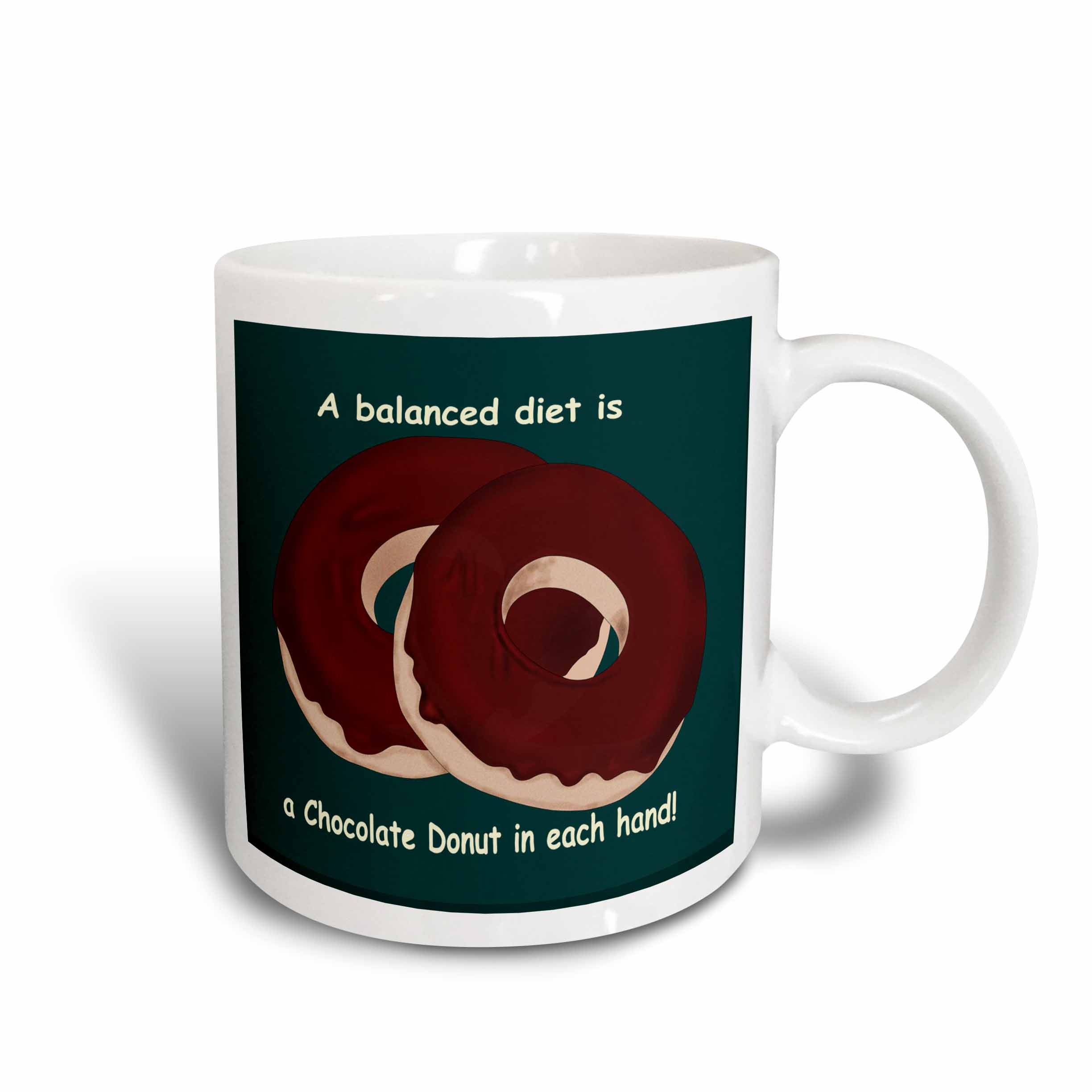 3dRose A Balanced Meal a Chocolate Donut in each hand , Ceramic Mug, 15-ounce