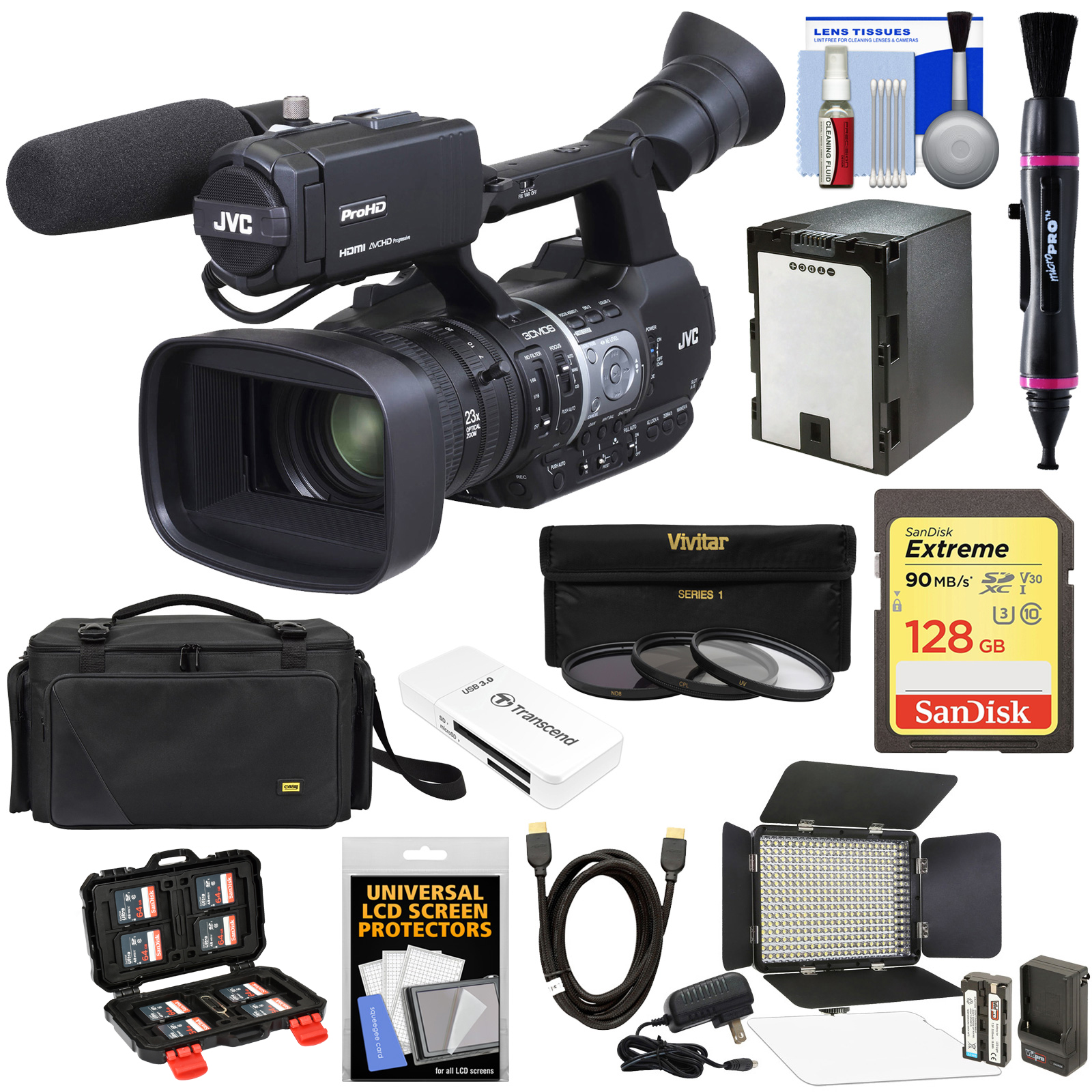 JVC GY-HM620U ProHD Professional Mobile News Camcorder with XLR Microphone + 128GB Card + Battery + Case + LED... by JVC