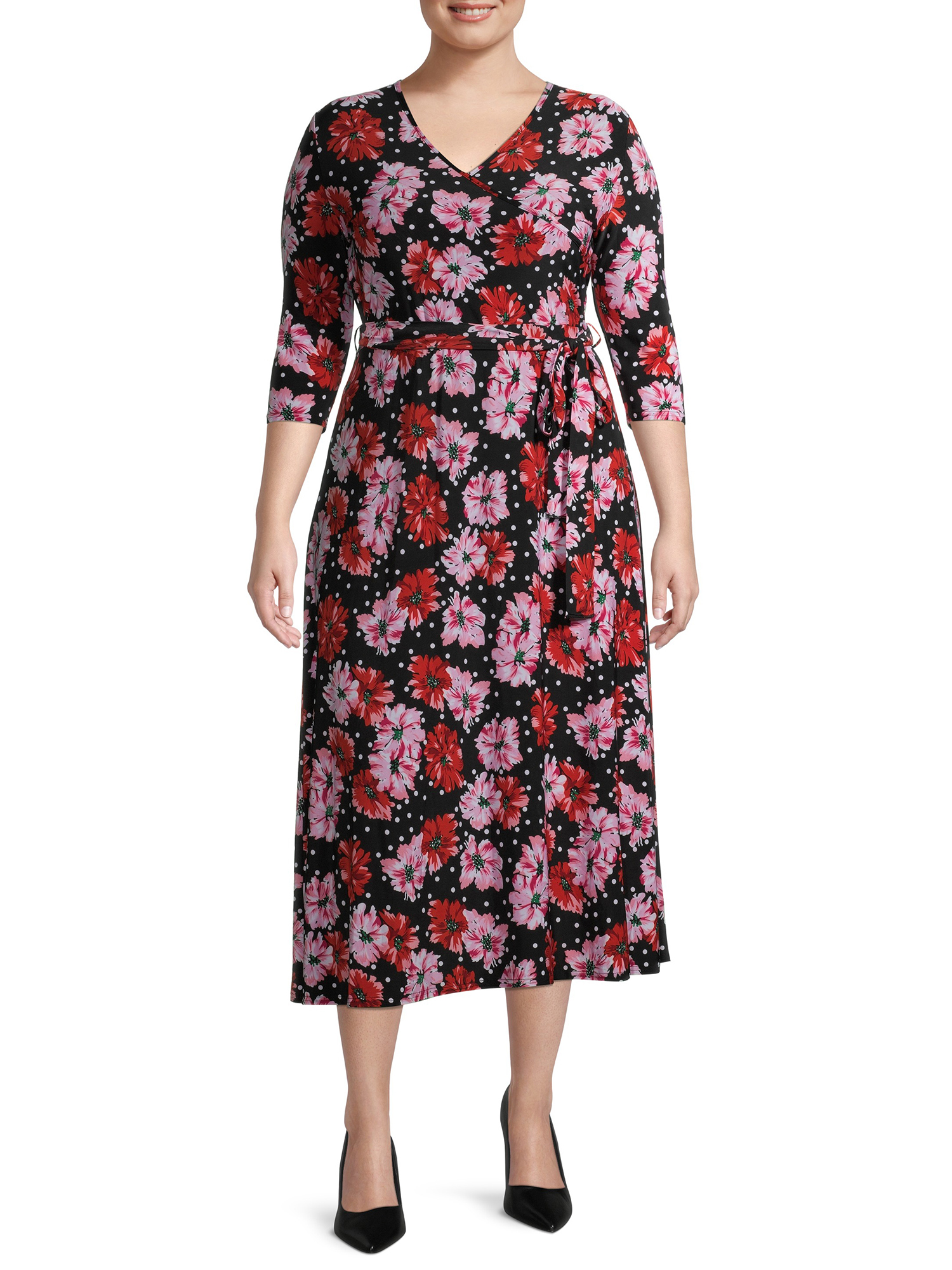 Love Sadie - Love Sadie Women's Plus Size 3/4 Sleeve Faux Wrap Midi Dress - Walmart.com