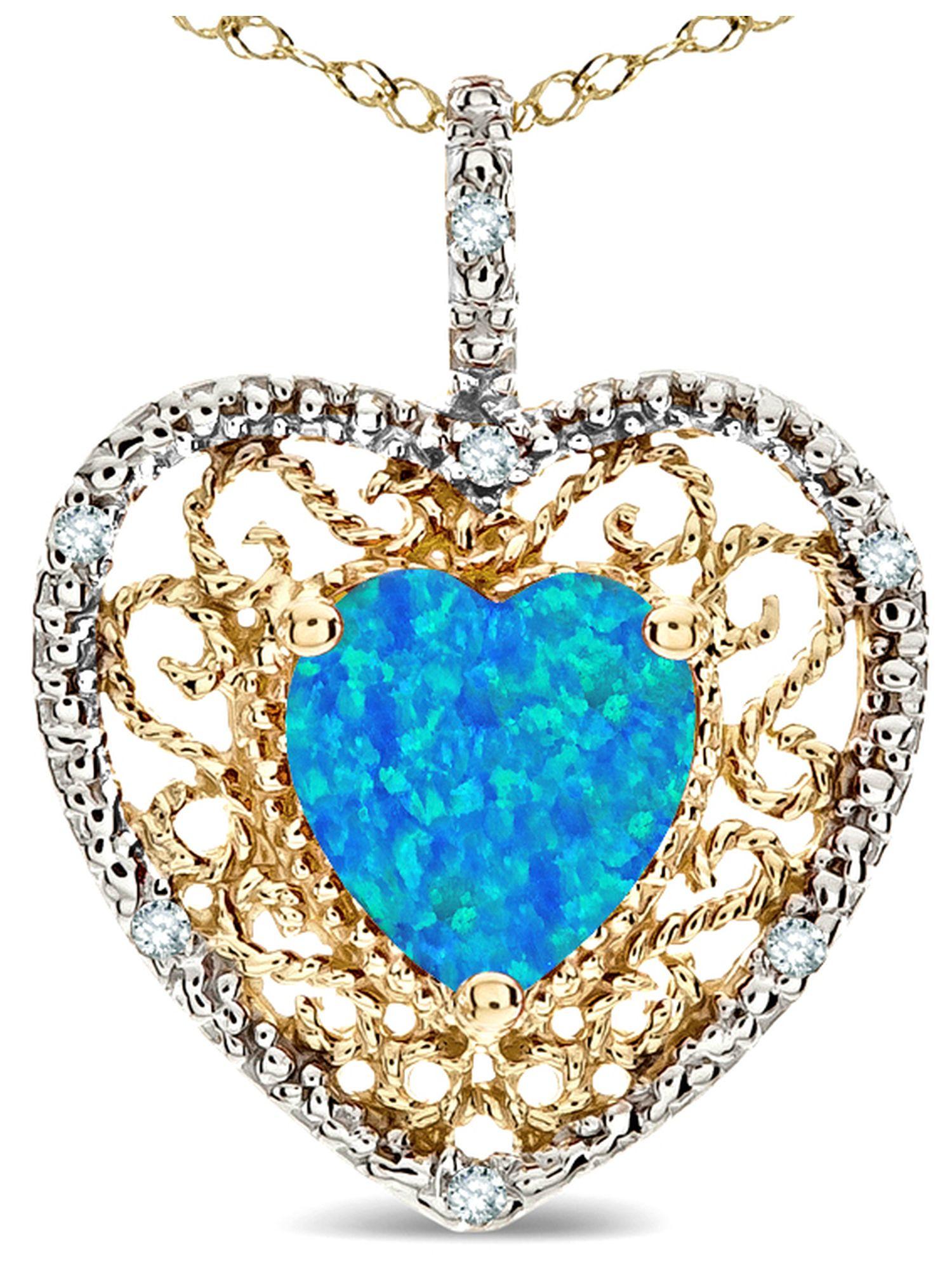 Star K Heart Shape 8mm Blue Created Opal filigree Heart Pendant Necklace 10k Yellow Gold