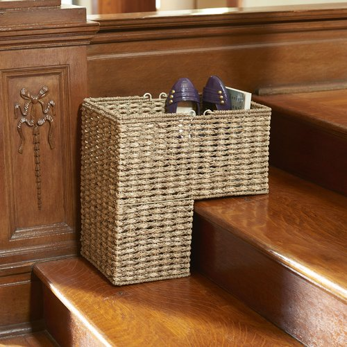 Superbe Bay Isle Home Stair Step Sea Grass And Corn Husk Wicker Basket