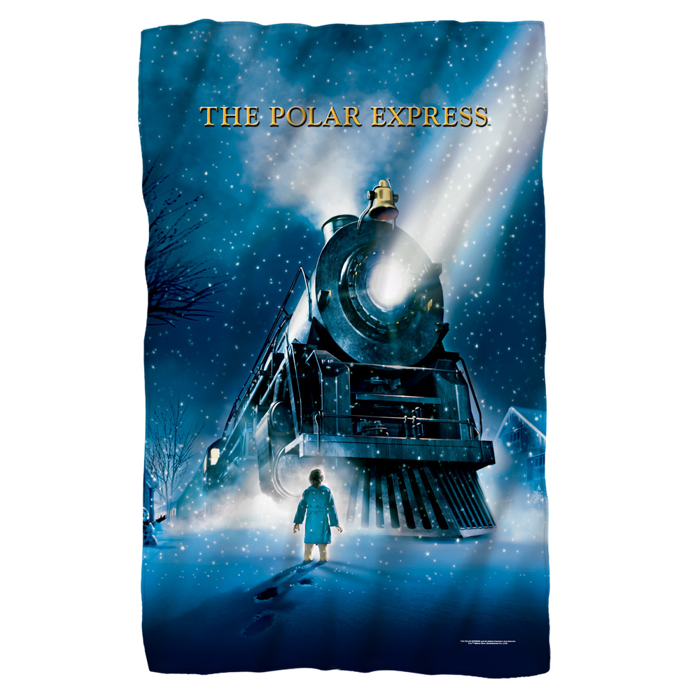 Image of Polar Express Poster Large Blanket Throw White One Size