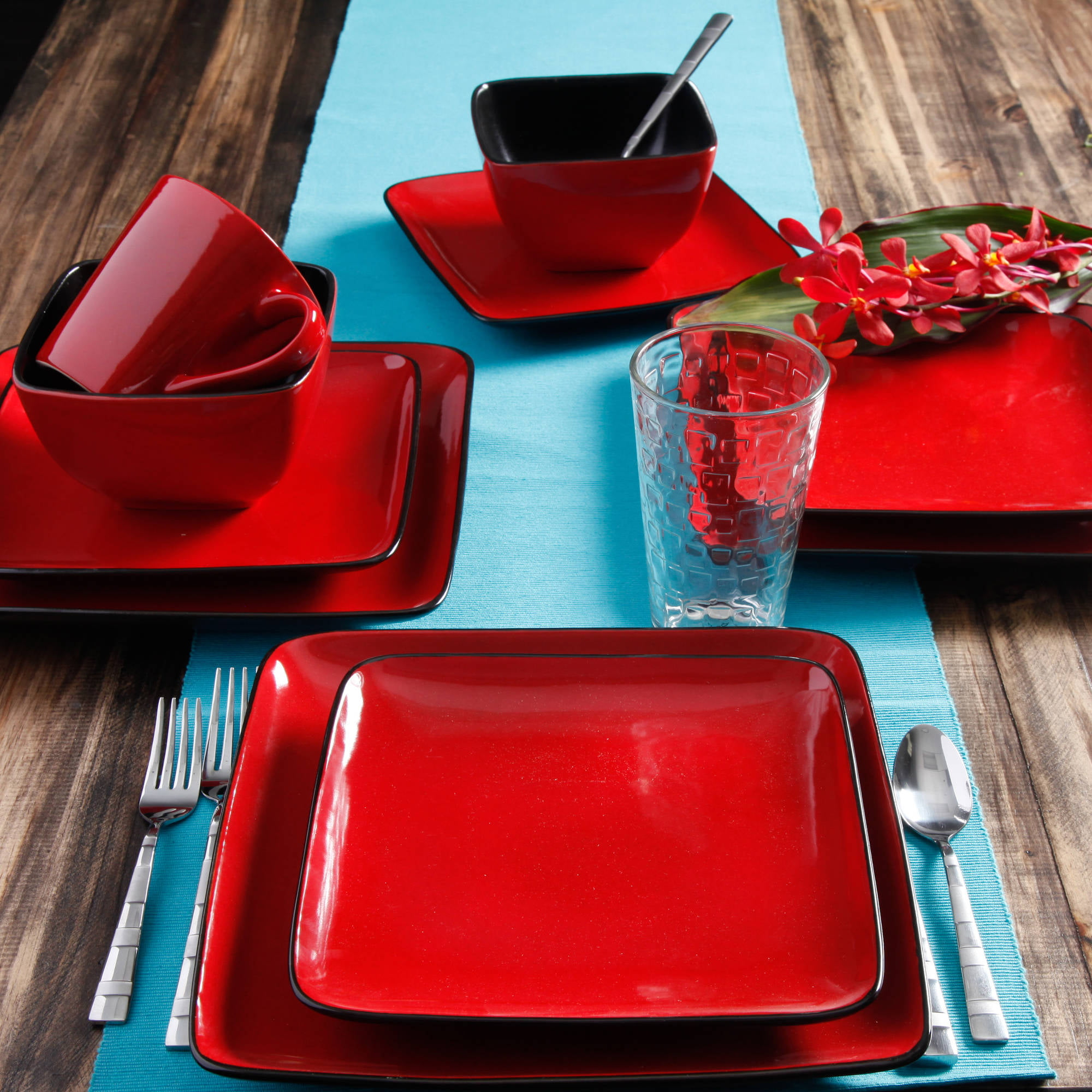 Better Homes U0026 Gardens Rave 16 Piece Square Dinnerware Set, Red    Walmart.com