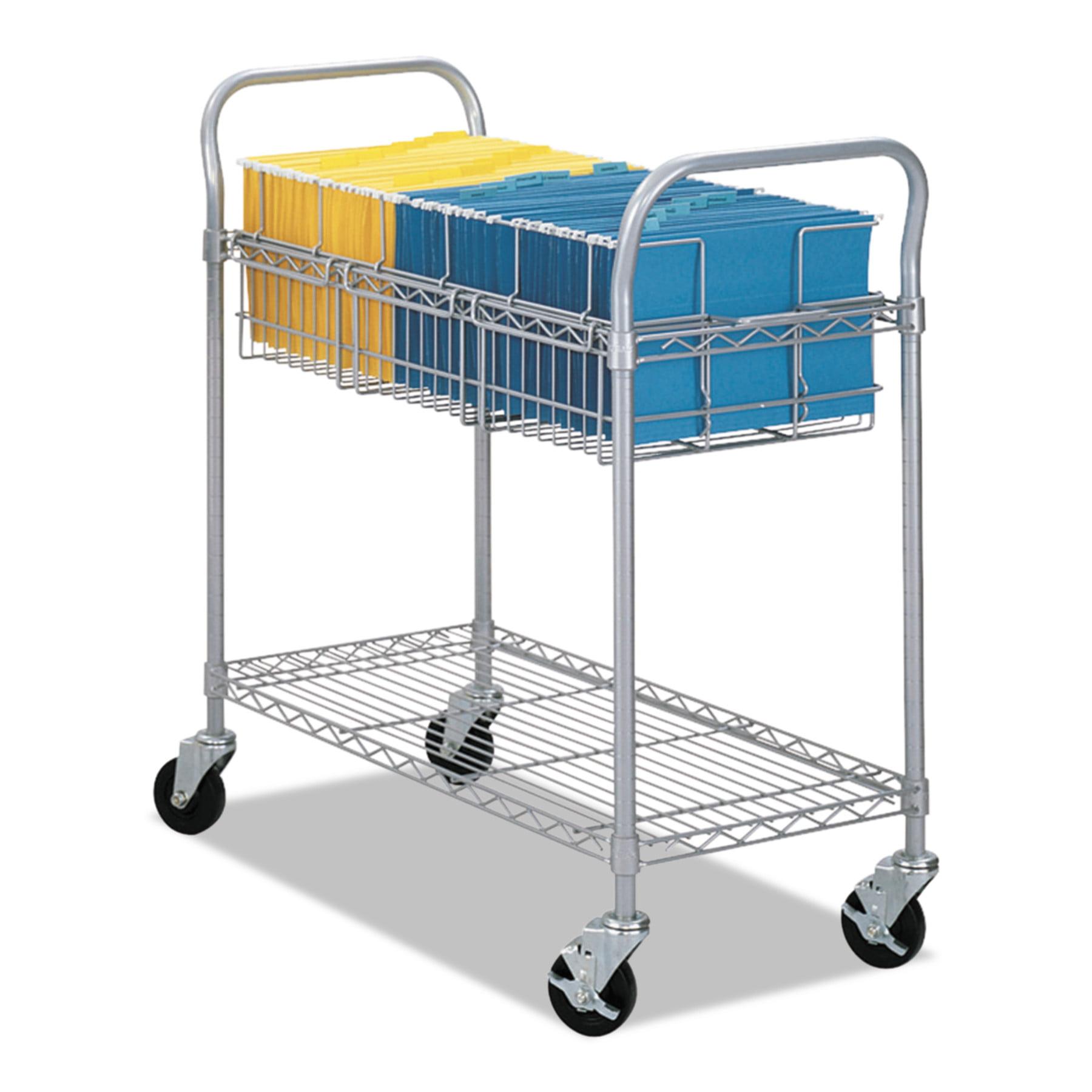 Safco Wire Mail Cart, 600-lb Cap, 18-3/4w x 39d x 38-1/2h, Metallic Gray -SAF5236GR
