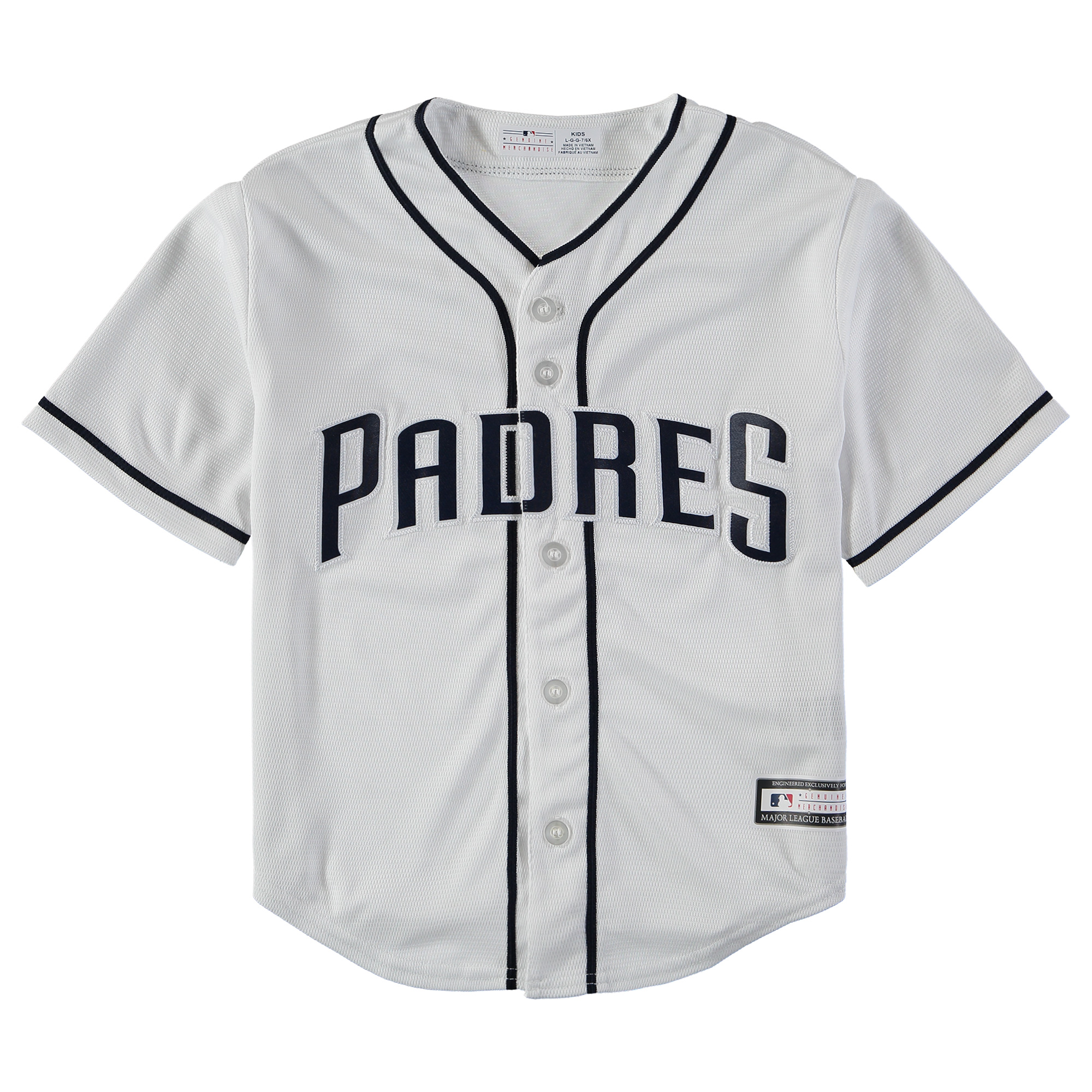 San Diego Padres Youth Replica Blank Team Jersey - White