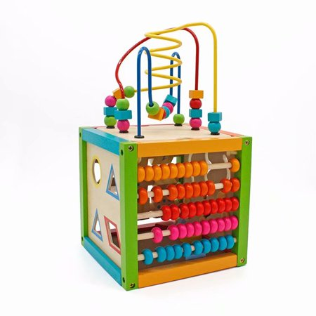 Akoyovwerve Bead Maze Cube, 5 in 1 Wooden Cube Activity Center Learning Cube Educational Toys for Kids and Toddlers](Wooden Marble Maze)