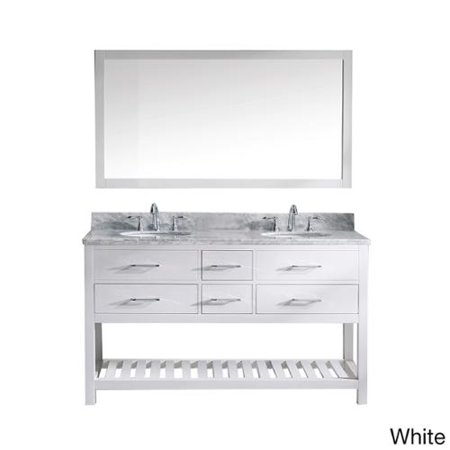 Virtu Usa  Caroline Estate Carrera Marble Double Sink Bathroom Vanity And Mirror