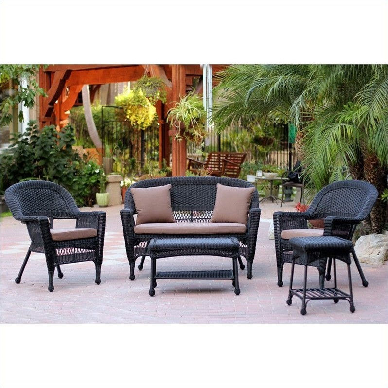 Jeco 5pc Wicker Conversation Set in Black by Jeco Inc.