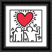 Wedding Invitation 2x Matted 16x16 Black Ornate Framed Art Print by Keith Haring