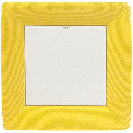 Paper Plates 5957DP Grosgrain Border Yellow Square Dinner Plates