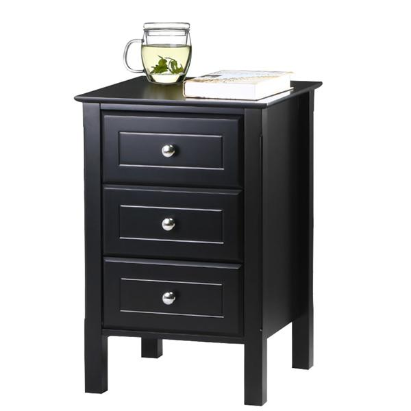 Charmant 2 Set 3 Drawers Nightstand Tall End Table Storage Wood Cabinet Bedroom Side  Storage,Black