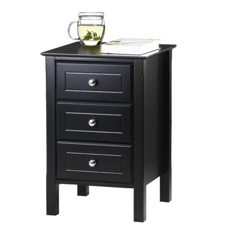 Yaheetech 3 Drawer Tall Nightstand End Table Storage Wood Cabinet Bedroom Side Black