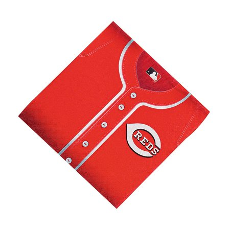 Fun Express - Mlb Cincinnati Reds Lunch Napkins - Party Supplies - Licensed Tableware - Licensed Napkins - 36 Pieces
