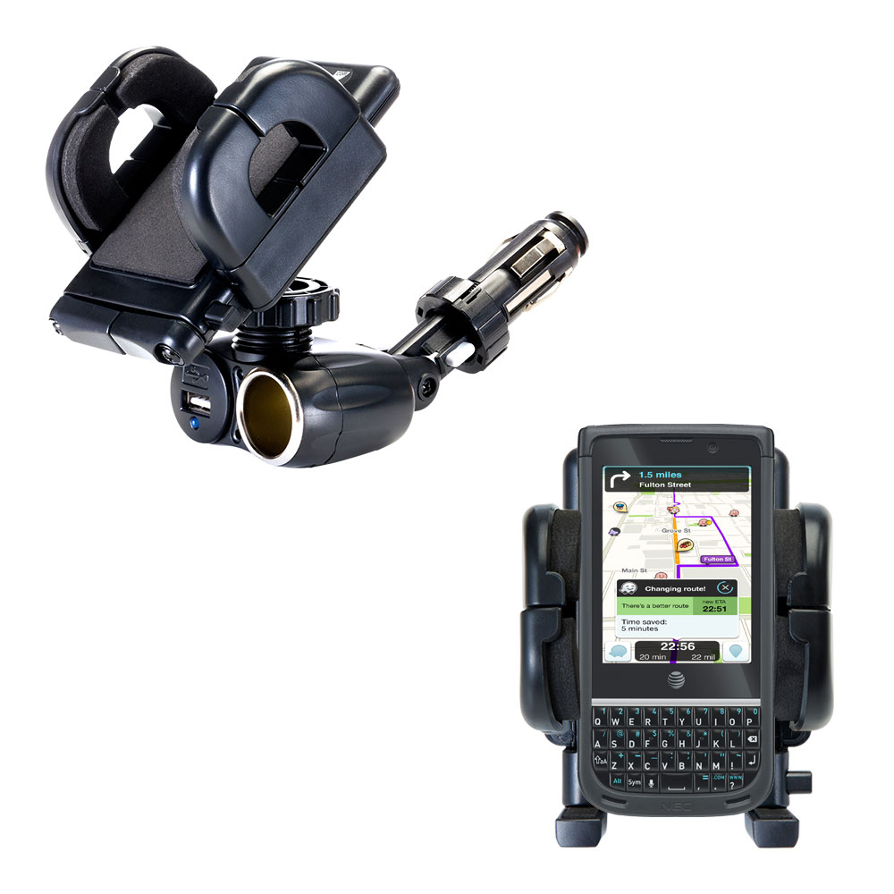 Dual USB / 12V Charger Car Cigarette Lighter Mount and Holder for the NEC Terrain