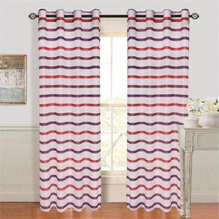 Set of 2 Lavish Home Arla Grommet Curtain Panel - Wine-Red