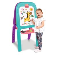 Crayola Purple & Turquoise 3-in-1 Double Easel With Storage, 77 Magnetic Letters/Numbers + 2 Sticker Sheets