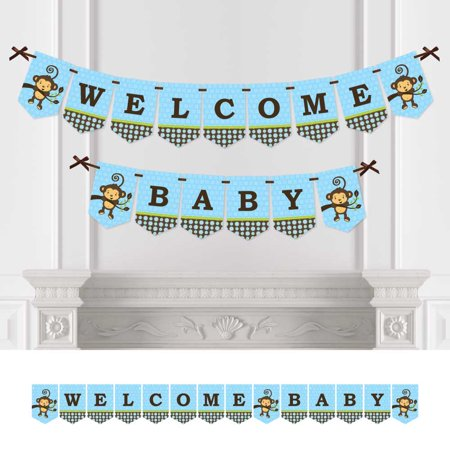 Monkey Baby Shower Decorations (Monkey Boy - Baby Shower Bunting Banner - Blue Party Decorations - Welcome)
