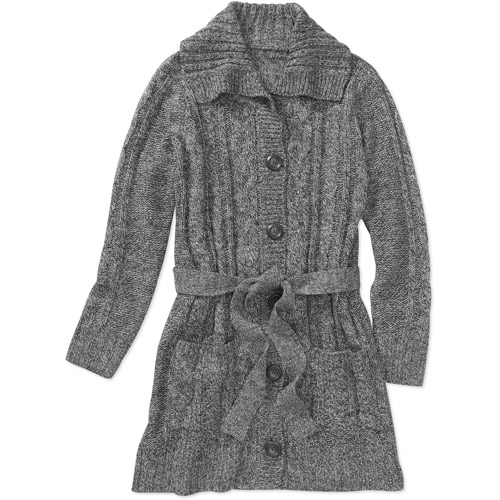 Faded Glory Women's Plus-Size Belted Cable Sweater Car Coat